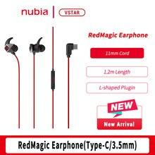 Nubia سماعة ألعاب RedMagic ، سماعة أصلية من النوع C ، 3.5 مللي متر ، سماعة أذن Nubia لـ RedMagic 5G 5s