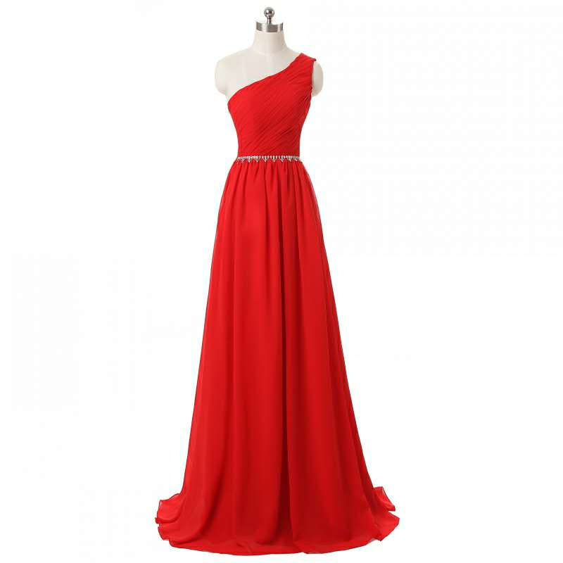 A-Line Long Chiffon Pleated Bridesmaid Dresses with Pockets One Shoulder Custom Made Beaded Formal Wedding Party Dresses