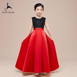 Eren Jossie элегантное Красное и черное украшение колье платье для сцены для девочек платье для дня рождения с кружевом