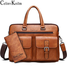 Celinv Koilm Men Business Bag For 133 inch Laptop Briefcase Bags Set Handbags High Quality Leather Office Bags Totes Male