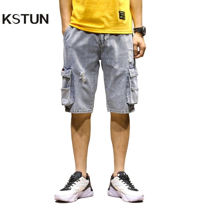 Summer Jeans Men Shorts Cargo Pants Multi-pockets Cotton Distressed Jean Streetwear Jeans Man Calf-Length Blue Denim Trousers 40