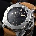 Uhr Männer Automatische Bewegung 47mm Edelstahl Fall Lederband Leuchtenden Rückseite Display Luxus Marke Uhr
