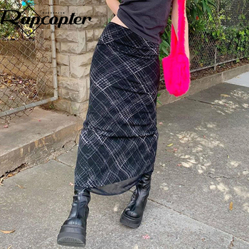 Rapcopter Striped Long Skirts y2k