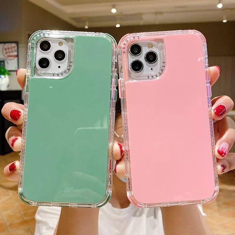 Двухслойный противоударный чехол карамельного цвета для телефона iPhone 12Pro 12Mini 11 11Pro Max XR X XS Max 7 8 Plus SE 2020, задняя крышка