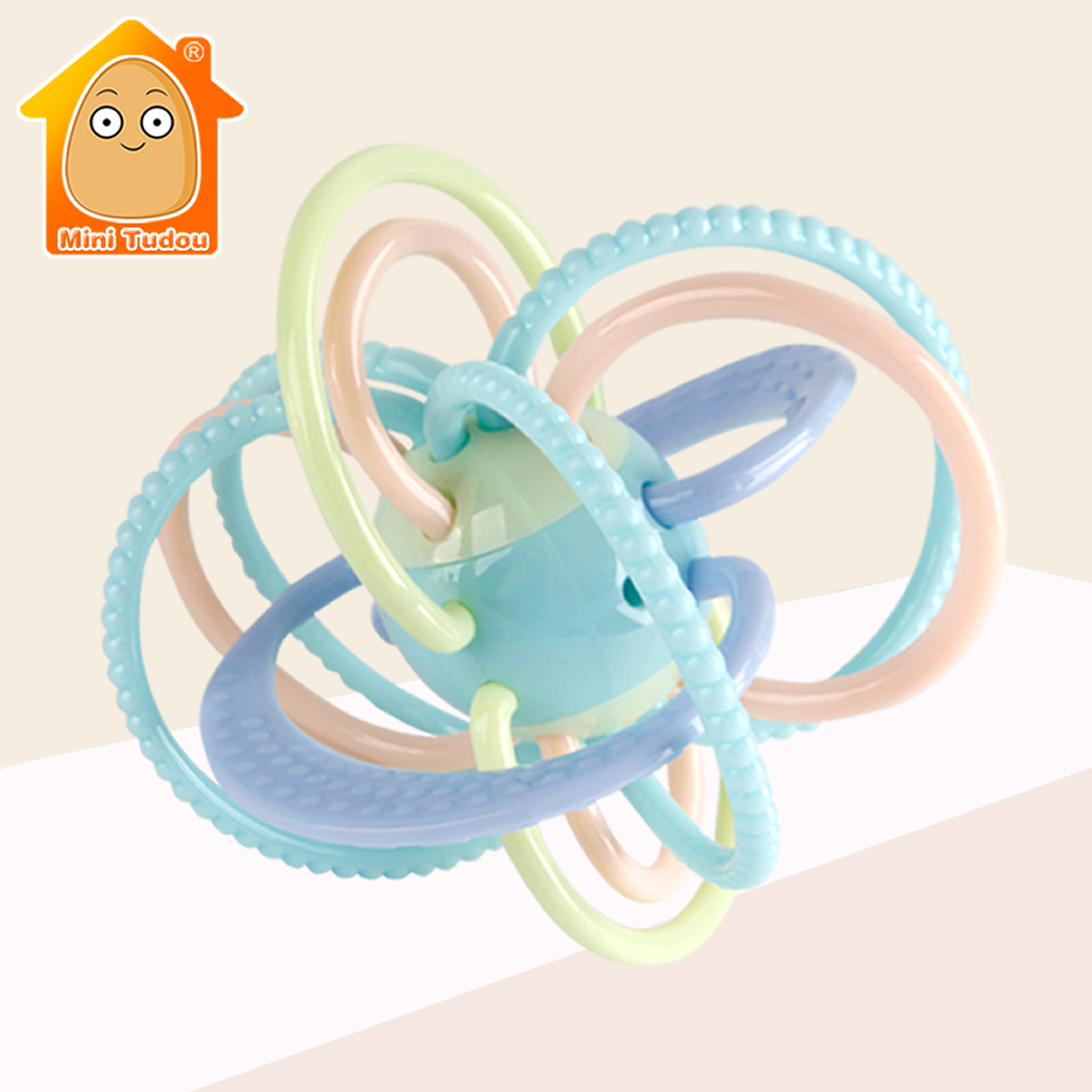 0-12 Months Baby Toy Newborn Teether Ball Music Toy Rattles Earily Educational Grasping Toy Plastic Hand Bell Rattle Ball