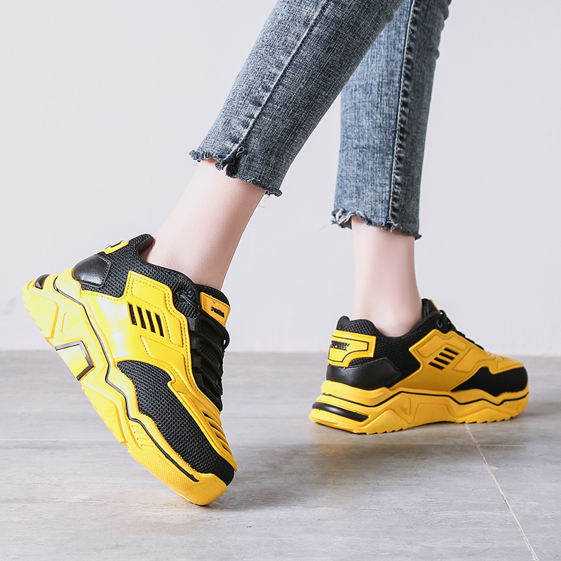 Spring Large Size Women's Shoes Fashion Casual Mesh Breathable Sneakers Thick Bottom Outdoor Walking Lace-up Single Shoes U17-82