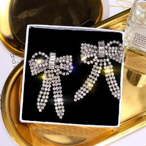 Великолепные серьги подвески с бантом и кисточками, стразы, полые блестящие длинные серьги для женщин, модные висячие серьги, ювелирные изделия для свадьбы|Серьги-подвески|   | АлиЭкспресс