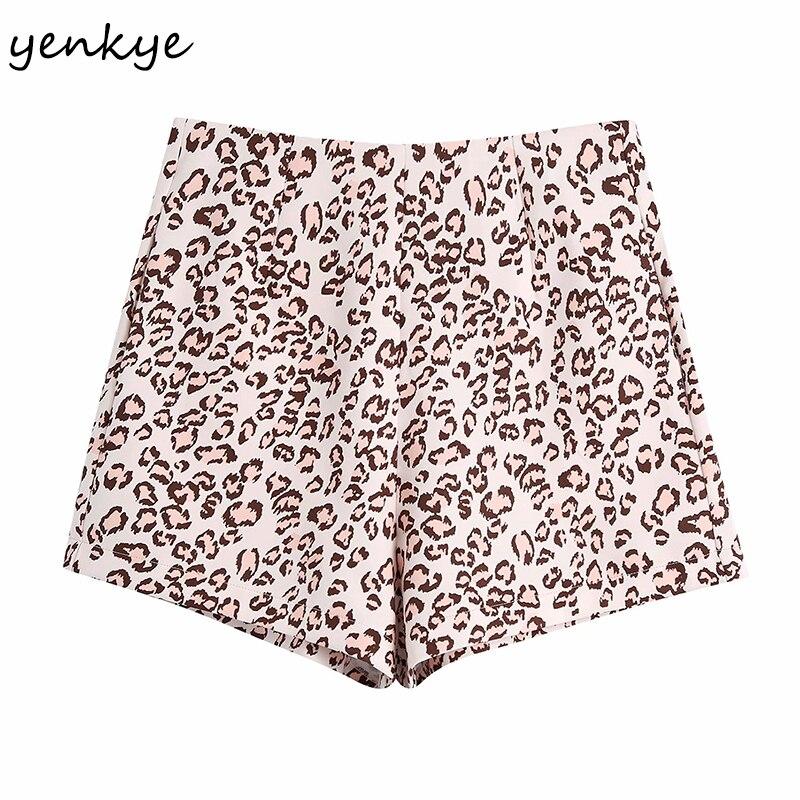 YENKYE Vintage Animal imprimé Shorts femmes dos fermeture éclair taille haute mode courte Femme été pantalons cortos