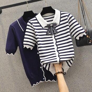 COIGARSAM 5XL Plus Size Fashion Knitting Shirt Womens tops Summer Turn-down Collar Women shirts Dark Blue Stripe 95419542 pinkwin blue 5xl