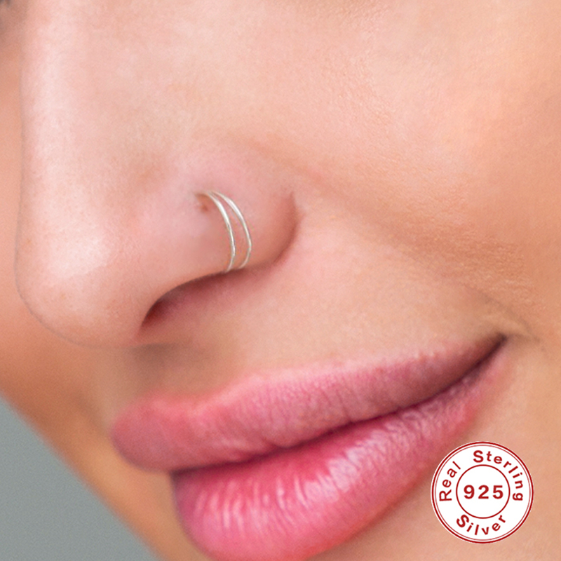 AIDE 8mm Segment Rings Nose Hoop Ear Piercing Tragus 925 Silver Nose Ring Ear Cartiliage Tragus Sexy Body Jewelry Piercing Nariz
