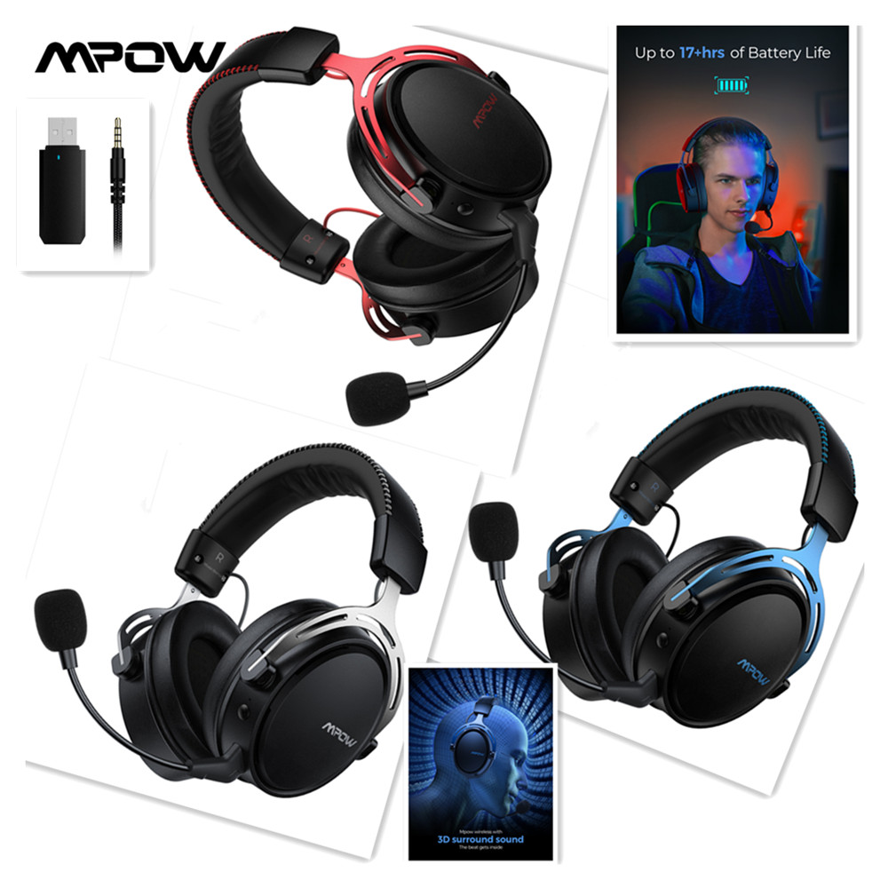 Mpow 3 5mm Usb 2 4g Wireless Gaming Headphones With Microphone Gamer Stereo Noise Cancelling Mic Headset For Ps4 Pc Xbox One Phone Earphones Headphones Aliexpress