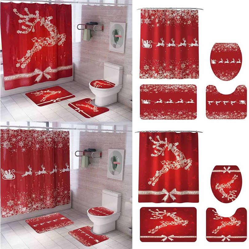 Christmas Snowman <font><b>deer</b></font> Print Toilet <font><b>Bathroom</b></font> <font><b>Mat</b></font> And Shower Curtain 4pcs Set Shower curtain carpet <font><b>mat</b></font> combination #3O31 image
