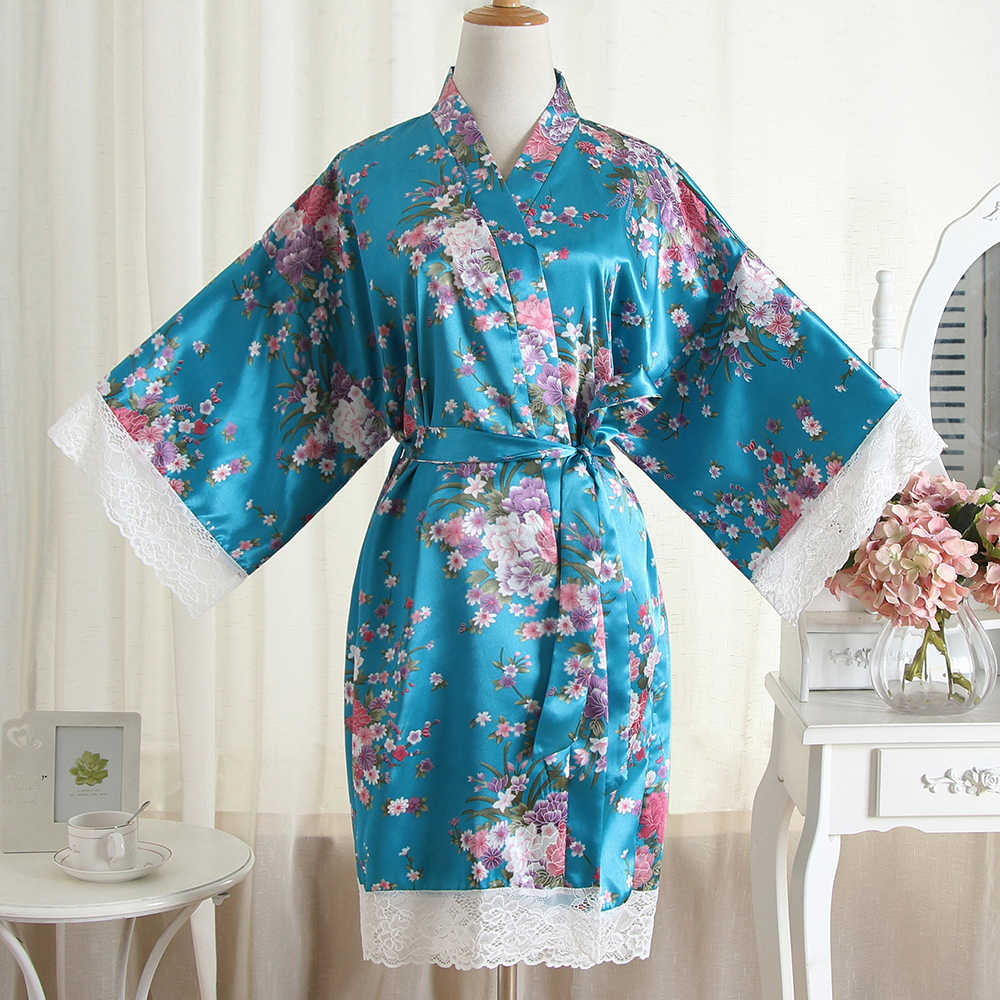 ウエディングローブセクシーなパジャマプリント花家の服女性のショートガウンカジュアル着物浴衣ドレスサテン寝間着