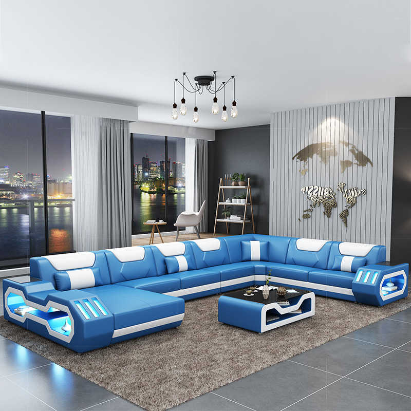 Hot Sale Modern Sofa Design Led Lights Living Room Sofa Set Blue Leather Sofa Living Room Sofas Aliexpress