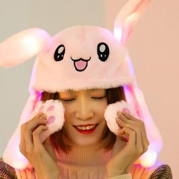 Cute Plush Thermal Hat Cap With Movable Ear Shaped Rabbit Toy For Women Lady Run K Pop Game Same Hats Caps Winter Warm Hat Gift
