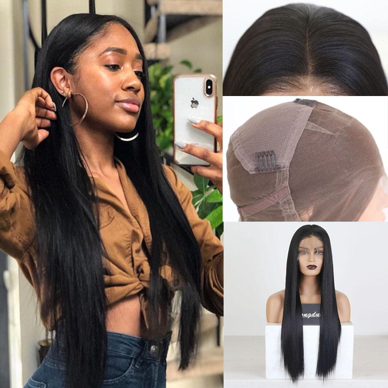 RONGDUOYI Long Deep Part Synthetic Full Lace Wigs For Women Silky Straight Japanese Fiber Hair Lace Wig Middle Part Full Wigs