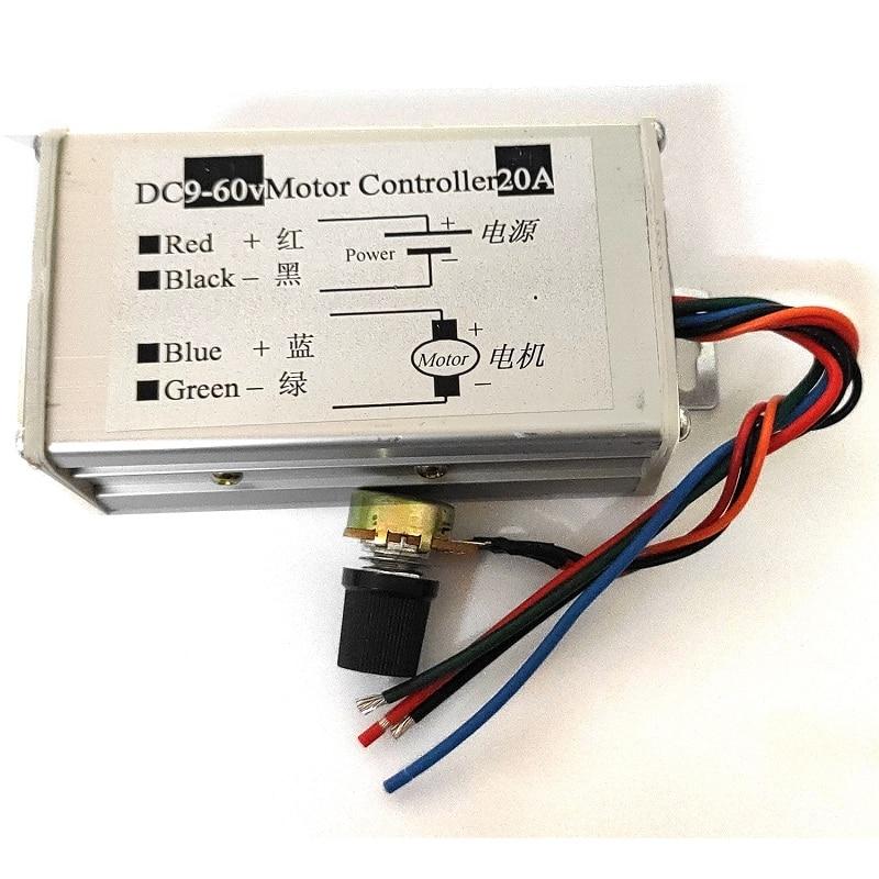 12V24V36V60 PWM DC Motor Stepless Speed Module Pulse Width Brush Motor Speed Regulation Speed Controller 20A