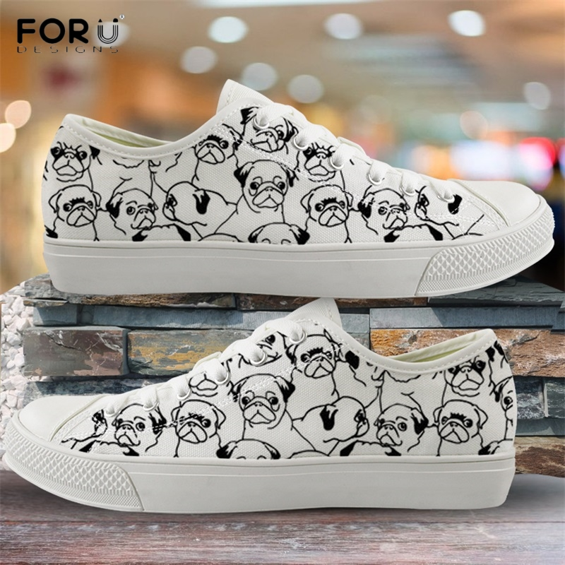 FORUDESIGNS Cute Cartoon Pug Dog/Puppy Print Woman Low Top Canvas Shoes Breath Spring/Autumn Lace Up Sneakers Vulcanized Shoes