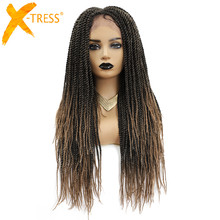 Braiding-Hair Wigs Twists Colored Hairstyle Low-Temperature-Fiber Black Synthetic Women