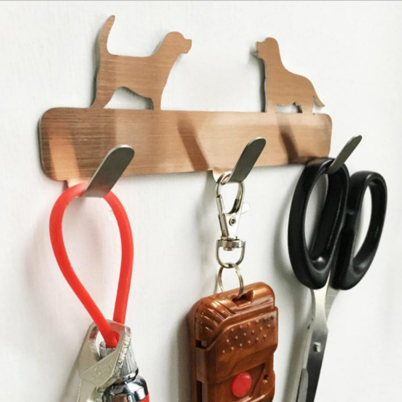 Home Dogs Shaped Stainless Steel Wall 3 Hooks Wall Door Rustic Hanger Clothes Coat Hat Key Hanging Home Kitchen Bathroom Decor D