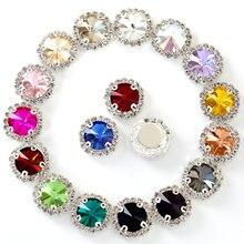 Boucles rondes colorées en cristal, 5 tailles, strass cousus sur les griffes, dos plat, pour demoiselle d'honneur, B1074