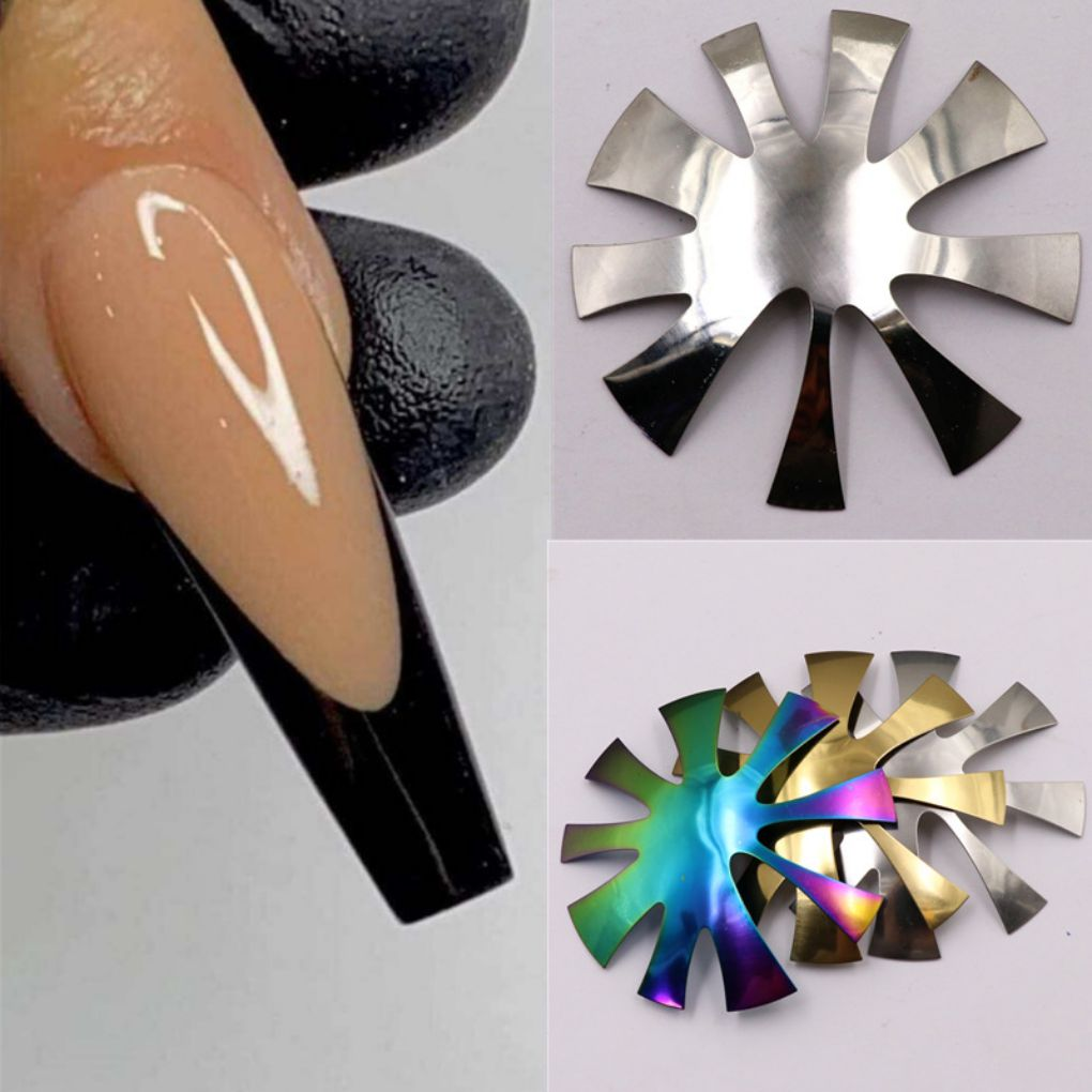 Pro 9 Sizes Easy French Smile Cut V Line Almond Shape Tips Manicure Edge Trimmer Nail