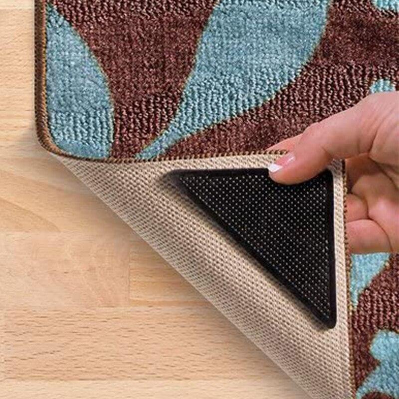 Tapis de bain réutilisable lavable en Silicone | Ensemble de 4 pièces/ensemble tapis antidérapant, tapis de sécurité avec poignée pour la maison, la salle de bain et le salon