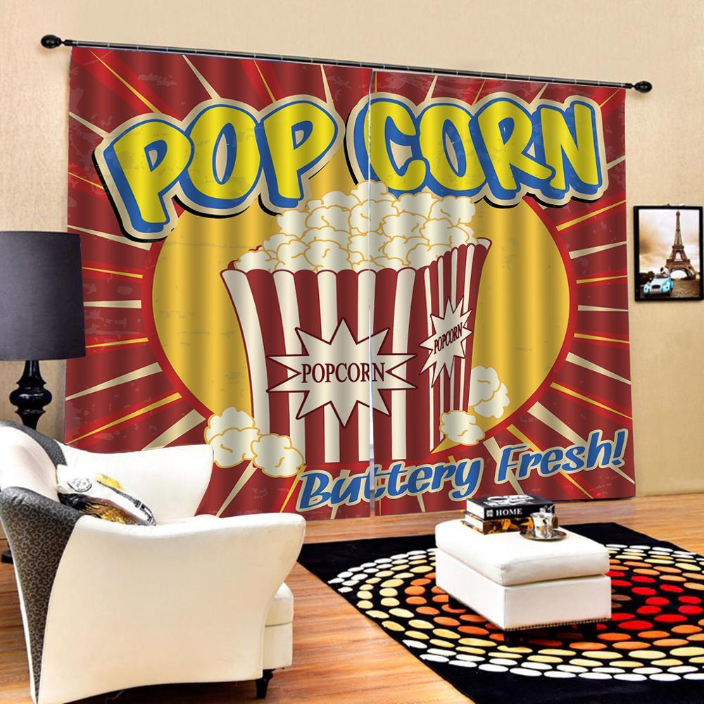 Пользовательские 3D шторы кино тограф попкорн шторы фотографии фоны шторы компьютерная печать праздничные Шторы Декор - 2