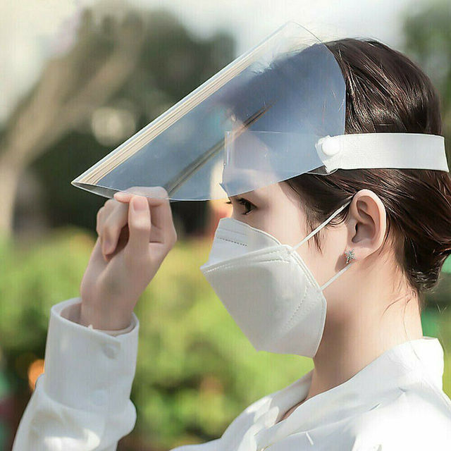Transparent Adjustable Full Face Shield Plastic Anti-fog Anti Saliva Splash Protective Mask Dust Cover Mask Shield 3