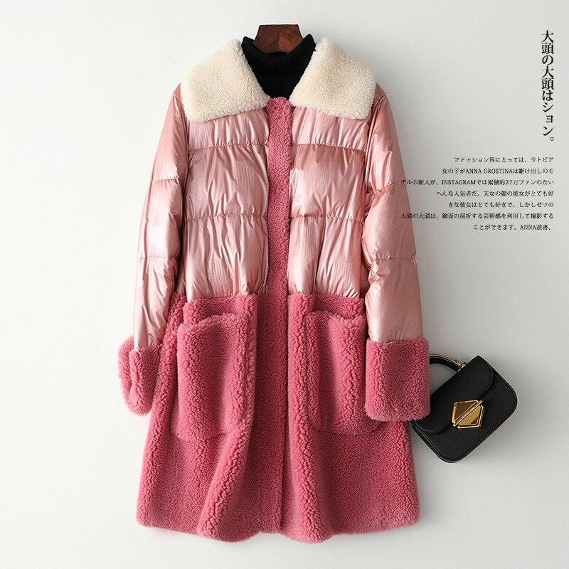 Winter Duck Down Jacket Female 2020 Korean Pink Real Fur Coat Women Thick Warm Long Wool Jacket Ladies Outwar Hiver 2243