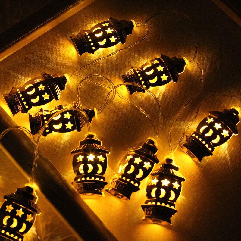 10/20 LED Eid Mubarak Decorative String Lights Gold Palace Ramadan Kareem Lantern Garland Muslim Islam Party Supplies Dropship