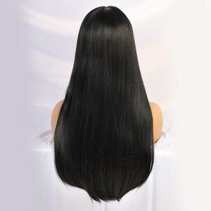 Image 4 - Длинные прямые черные парики термостойкие синтетические парики с челкой для женщин афро американские натуральные повседневные парики из натуральных волос для вечеринки