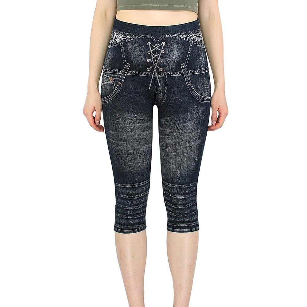 Slim Women Oversized Casual Faux Denim Jeans Bandage Print Leggings Strechy Capris