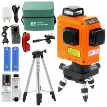 KaiTian 3D Laser Level Tripod Use Lithium Battery&AC Adapter 12 Lines Self-Leveling Horizontal&Vertical 360 Laser Level Receiver