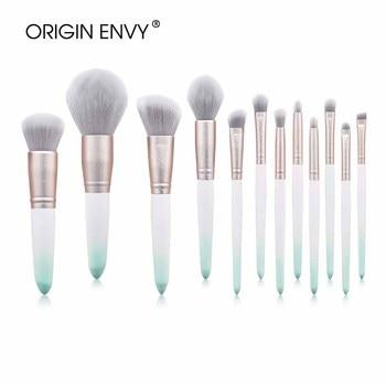 La envidia 12 Uds pinceles de maquillaje, Set de polvo de base de sombra de ojos cejas mezcla Fan detalle cepillo herramientas de belleza