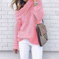 Осенний свитер с открытым плечом женский пуловер свитер теплый зимний вязанный женский свитер длинный рукав женский свободный свитер женс...