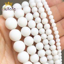 Piedra Natural pulido mate blanco ágatas de ónix ronda suelta perlas para joyería haciendo 6 8mm 10mm 12mm de perlas pulsera DIY 15''