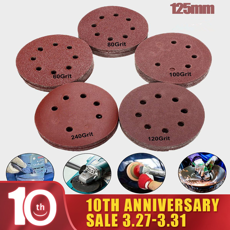 10Pcs/set 80/180/240/320/1000/1500/2000 Grit Round Shape Sanding Discs Buffing Sheet Sandpaper 8 Hole Sander Polishing Pad