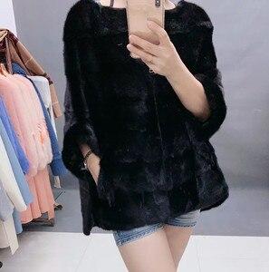 Image 3 - New Luxury women natural mink fur coat stripe zipper cardigan overcoat