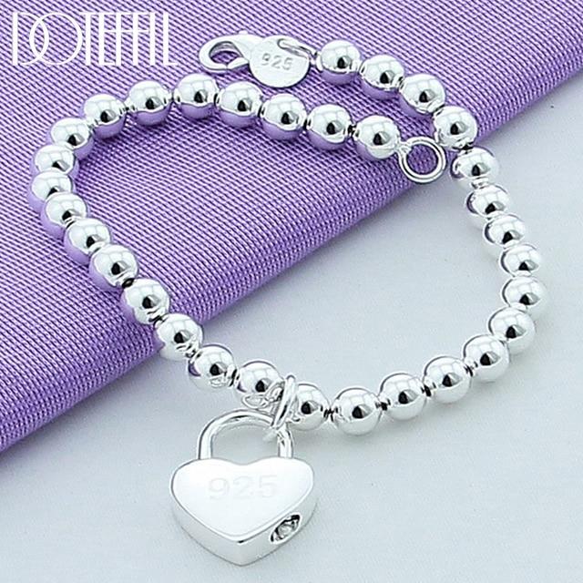 DOTEFFIL 925 Sterling Silver Heart Lock 6mm Beads Chain Bracelets Jewelry Women Top Quality Lovers Bracelets Christmas Gift 1