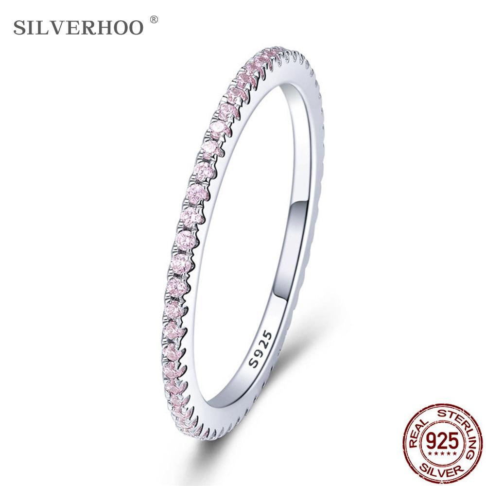 SILVERHOO 925 Sterling Silver Pink Crystal Wedding Female Rings For Women Simple Geometric Ring Sterling Silver Jewelry