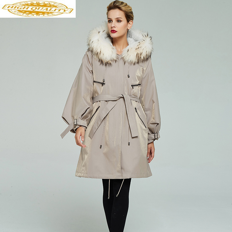 Parka Real Fur Coat Female Natural Rabbit Fur Liner Long Coats 2020 Winter Jacket Women Fox Fur Collar Warm Parkas MY