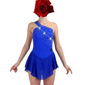 Figure Skating Dress Women girl Ice Skating Dress navy blue Gymnastics Costume custom rhinestone  B151