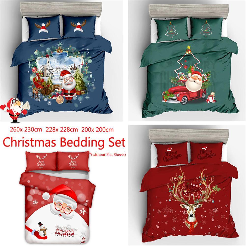 3pcs /Sets Luxury Christmas Home Textile Polyester Bedclothes 3D Happy Christmas Snowman Bedding Set 3D Quilt Duvet Cover