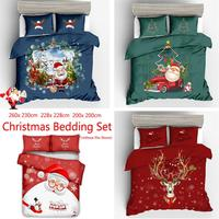 3pcs /Sets Luxury Christmas Home Textile Polyester Bedclothes 3D Happy Christmas Snowman Bedding Set 3D Quilt Duvet Cover