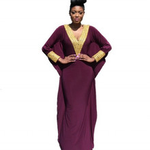 Arabic Style Long Sleeve for Women Gold Beaded V Neck Formal Muslim Arabic Evening Gowns feestjurken