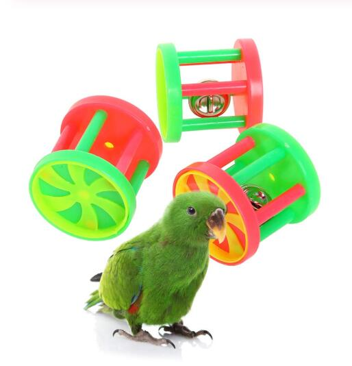 Parakeets Conures Toys Bird Rattles Bells Foot Toys Enrichment Barbell Ball Toys Play Gym Cage Accessories for Medium Parrots 11