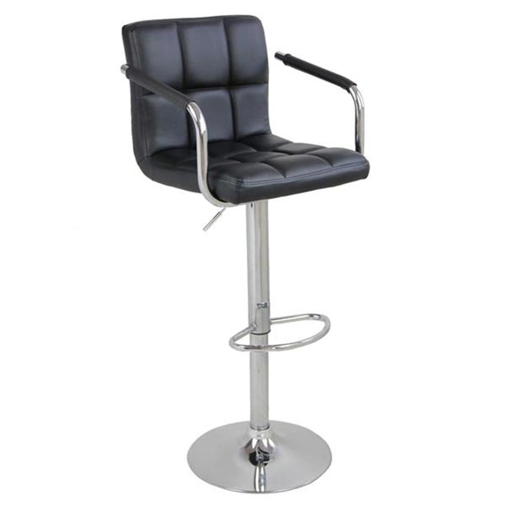 2pcs SSJ-891 60-80cm 6 Checks Round Cushion Bar Stools With Armrest Black Bar Chair Adjustable Height