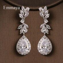 Emmaya Long Dazzling Design Cubic Zircon Earring Female Fashion Jewelry Three Color Choice Wedding Party Distinctive Dress-Up