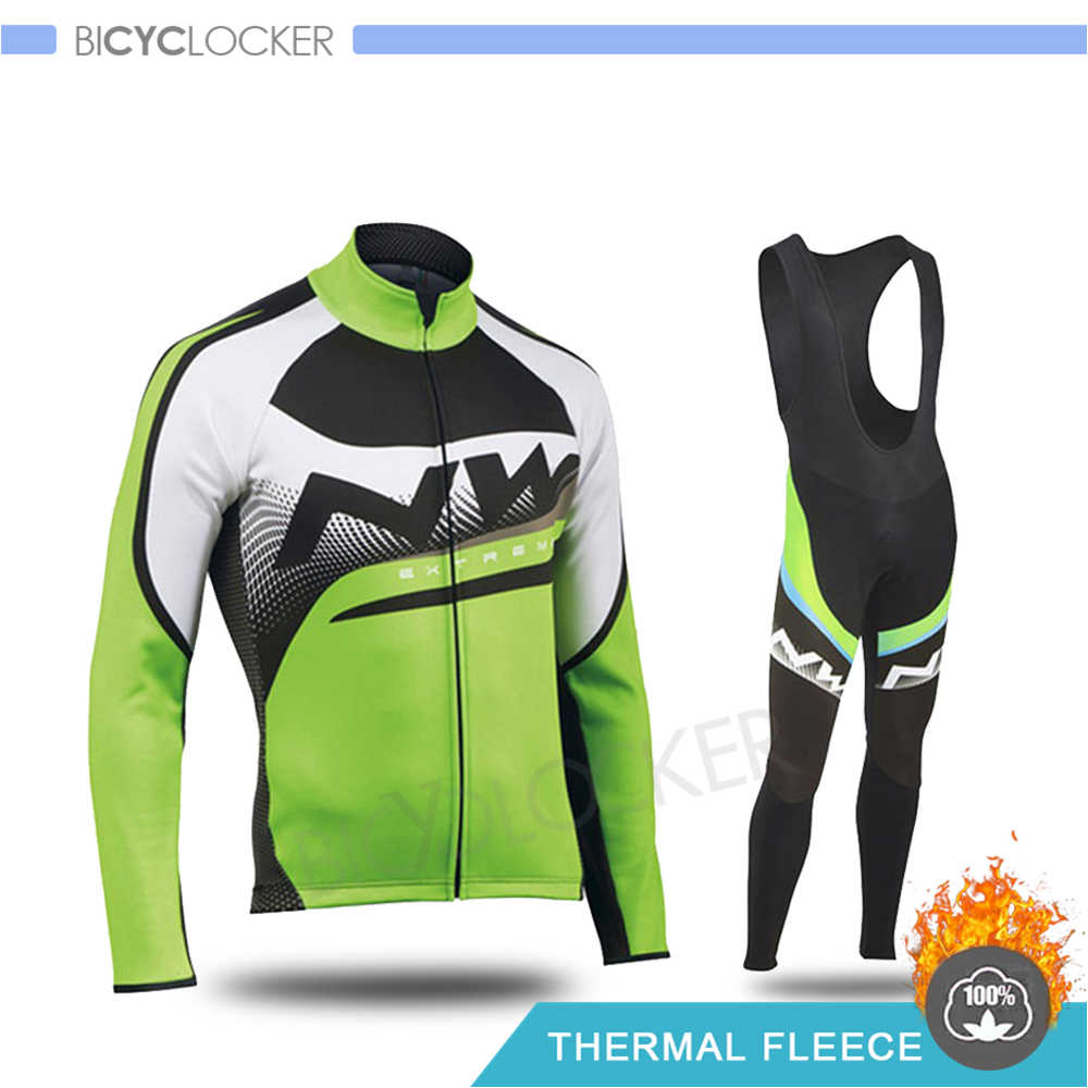 Pria Bersepeda Pakaian Set Northwave Musim Dingin Termal Jaket Tahan Angin Lengan Panjang Sepeda Jersey Triathlon Sepeda Mengendarai Sepeda Pakaian